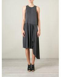 MM6 by Maison Martin Margiela | Gray Asymmetric Pleated Dress | Lyst