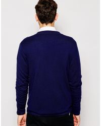ASOS - Blue Knitted Jacket In Merino Wool Mix for Men - Lyst