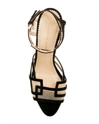 Charlotte Olympia - Between The Lines Black Suede High Heeled Sandals - Lyst