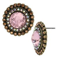 Betsey Johnson | Pink Crystal Gem Button Earrings | Lyst