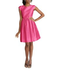 Donna Morgan | Pink Cap-sleeve Pleated Fit And Flare Dress | Lyst