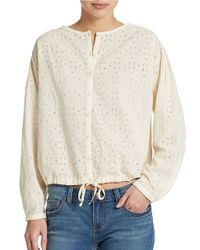 Free People | White Stars Align Button Front Blouse | Lyst