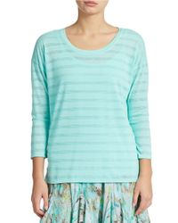 Lord & Taylor Green Striped Layered-effect Pullover