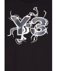 Y-3 - Black Flames Logo T-shirt for Men - Lyst