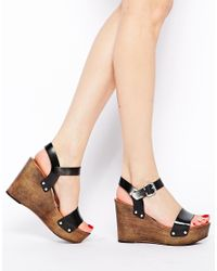 ASOS - Black High Speed Leather Wedge Sandals - Lyst