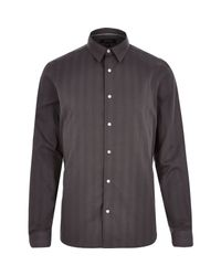 River Island - Gray Grey Stripe Long Sleeve Shirt for Men - Lyst