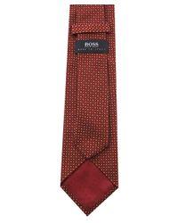 BOSS - Red Silk Micro Print Tie for Men - Lyst