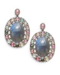 Bavna - Multicolor Diamond, Tourmaline, Labradorite & Sterling Silver Oval Drop Earrings - Lyst
