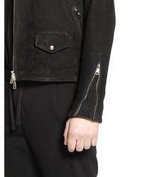 Giorgio Brato Black Multi Zip Nubuck Leather Moto Jacket for men