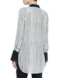Vince | Gray Wavy Striped Silk Blouse | Lyst