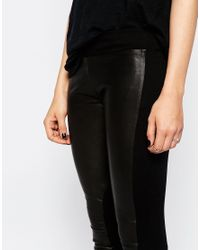 Doma Leather - Black Bitone Leather And Stretch Fabric Leggings - Lyst