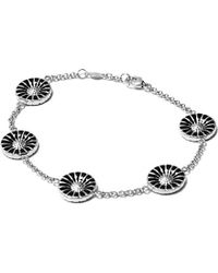 Georg Jensen | Metallic Daisy Rhodinated Sterling Silver With Enamel Bracelet | Lyst