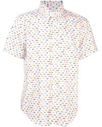 Naked & Famous White Cars and Robots Shirt for men