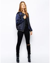 See U Soon Blue Bomber Jacket With Metallic Quilting Effect