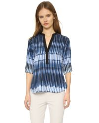 Vince | Blue Printed Tie Dye Blouse | Lyst