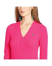 Polo Ralph Lauren - Pink Cable V-neck Sweater - Lyst