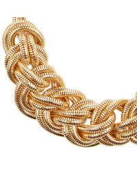 River Island - Metallic Gold Tone Mega Plait Necklace - Lyst