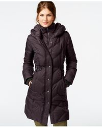 DKNY | Brown Faux-leather-trim Quilted Down Coat | Lyst