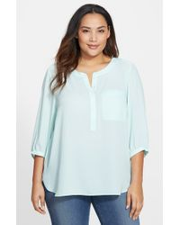 NYDJ | Blue Henley Top | Lyst