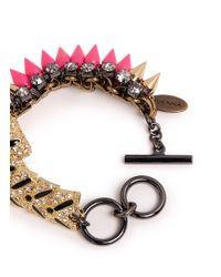 Venna Pink Crystal Pavé Tiger Spike Bracelet