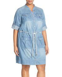 MICHAEL Michael Kors - Blue Roll Sleeve Denim Drawstring Dress - Lyst