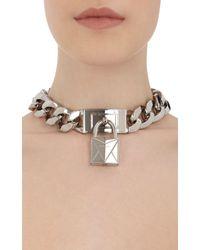 Givenchy Metallic Lock Pendant Choker
