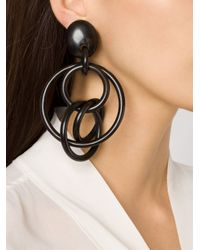 Monies | Black Large Linked Hoops Clip On Earrings | Lyst