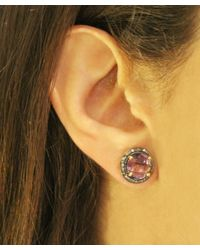 Adornia | Purple Amethyst And Champagne Diamond Willow Ii Stud Earrings | Lyst