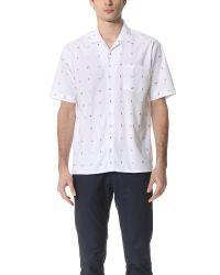 AMI White Short Sleeve Tailored Collar Shirt for men