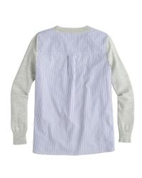 J.Crew - Gray Mixed Media Sweater in Heather Dusk - Lyst