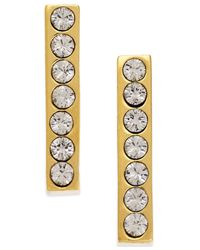 kate spade new york | Metallic 14k Gold-plated Dainty Sparklers Crystal Bar Stud Earrings | Lyst