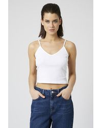 TOPSHOP | White Ribbed Crop Cami | Lyst