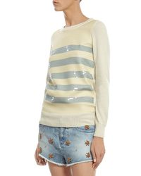 Gucci White Cashmere Sweater With Striped Sequin Embroidery