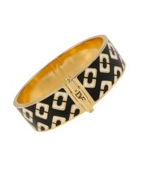 Diane von Furstenberg | Black Patterned Bangle Bracelet | Lyst