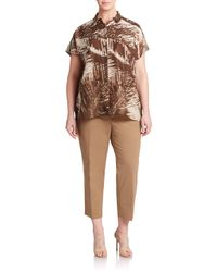 Lafayette 148 New York | Brown Cotton & Silk Cap Sleeve Top | Lyst