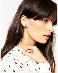 ASOS | Metallic Gold Plated Sterling Silver Open Half Circle Earrings | Lyst