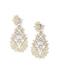 BCBGMAXAZRIA Metallic Floral Statement Earrings