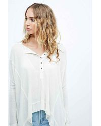 Free People Natural Nicest Waffle Long Sleeve Henley Tee In Cream