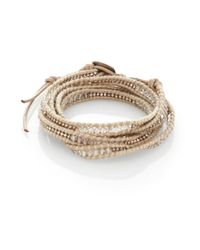 Chan Luu | Metallic Clear Quartz, Crystal, Sterling Silver & Leather Multi-Row Beaded Wrap Bracelet | Lyst