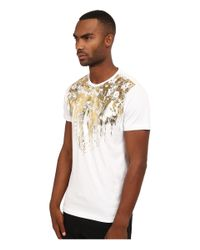 Versace Jeans White Short Sleeve T-shirt With Gold Foiled Detail for men