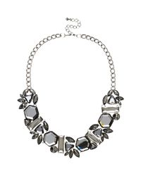 River Island | Gray Grey Gem Stone Statement Necklace | Lyst
