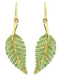 Jennifer Meyer Green Emerald Leaf Earrings