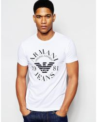 Armani Jeans White Rmani Jeans T-shirt With Eagle Logo In Slim Fit for men