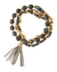Panacea - Metallic Golden & Gray Tassel Stretch Bracelet Set - Lyst