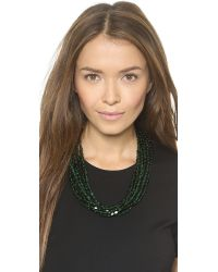 Kenneth Jay Lane Green Beaded Layer Necklace - Emerald