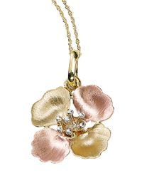 Lord & Taylor | Metallic 14k Tri Color Gold Flower Pendant Necklace | Lyst