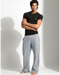 Emporio Armani Black Stretch Cotton Crew Neck T-shirt for men