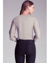 Bebe Metallic Cold Shoulder Bodysuit