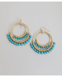 Kenneth Jay Lane | Blue Turquoise Beaded Hoop Earring | Lyst