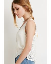 Forever 21 | Natural Ornate Lace-paneled Top | Lyst